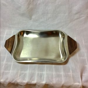 Stainless Steel Serving Condiment Tray Dish Wood